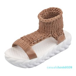 casual low summer sandal wedge NZ - Comfortable Casual Wool Women's Summer Sandals 2018 New Arrival Knit Platform Shoes Candy Color Wedge Sandalias c09 l28