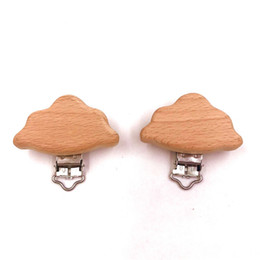 Wholesale Natural Wooden Nipple Chain Baby Feeding Accessories Pacifier Clasp Cute Modeling Beech Pacifier Clip Cloud shape Baby DIY Preferred
