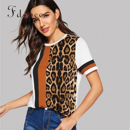 $enCountryForm.capitalKeyWord Australia - 2019 T-shirt Women Fashion Casual Leopard Print Short Sleeves Color Matching Loose Comfort Breathable Cotton Personalized Tops Y19072701