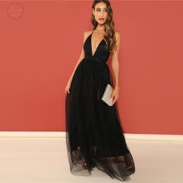 black deep v neck maxi dress Australia - Black Sexy Deep V Neck Backless Criss Cross Mesh Party Dress Women Autumn Solid Dress Vintage Maxi Dresses
