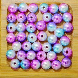 $enCountryForm.capitalKeyWord Canada - Rainbow Color 6# Round 4 6 8 10mm ABS Imitation Pearl Beads Hole Loose Beads Diy Jewelry Necklace Making for women 50-500PCS
