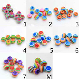 Acrylic Plastic Jewelry Australia - 50Pcs Rainbow Stripe 20MM Round Plastic Acrylic Resin Beads With Opaque Striped Lines Loose Spacer Beads Jewelry Findings
