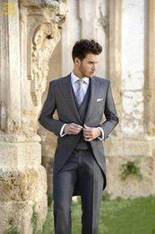 ClassiC tuxedo styles online shopping - Tailcoat Morning Style Groomsmen Peak Lapel Groom Tuxedos Men Suits Wedding Prom Dinner Best Man Blazer Jacket Pants Tie Vest G274