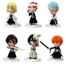 ichigo toys Canada - 6pcs lot Anime Bleach Ichigo Kurosaki Orihime Inoue Action Figures PVC Figure Collectible Model Toys Gift For Kids 7cm Y200421