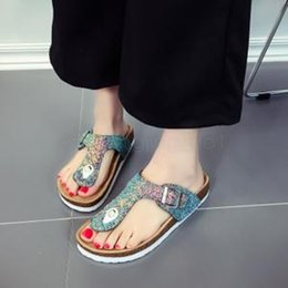 01cb942566f4fd Sequin SlipperS online shopping - Women Summer Flip flops Sequins Slippers  Floral Cork Slippers Antiskid Beach