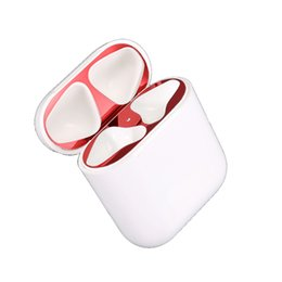 House Plates Australia - SZAICHGSI 100pcs lot For AirPods Dust Guard Plating Metal Ultra-Thin Skin Earbud for Apple Airpods Earphone Case Charging Box Housing Shell