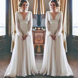 $enCountryForm.capitalKeyWord Australia - Modest Boho Beach Wedding Dresses 2019 Long Sleeves V Neck Plus Size Chiffon Cheap Summer Maternity Country Greek Style Bridal Gowns