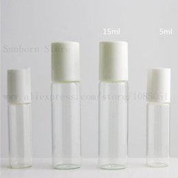 rolls pack Australia - 12pcs Clear glass roll on bottle with Glass Ball White Lids Transparent roll-on bottle essential oil use cosmetic packing
