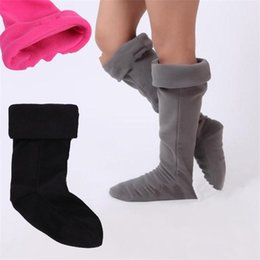 Hot girls HigH socks online shopping - Unisex Designer Rain Shoes Socks Fleece Boots Cuffs Winter Warm Knee High Rainboots Socks Brand Fashion Women Men Soft Stockings Hot C8603