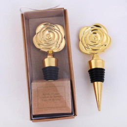 wine stopper favors for wedding NZ - Gold Rose Wine Stoppers in Gift Boxes Rose Flowers Wine Bottle Stopper Party Favors Wedding Giveaways for Guests