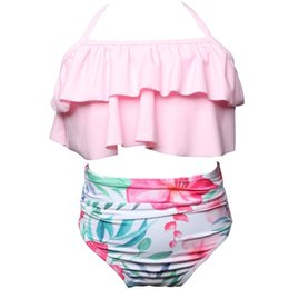 wholesaler baby suits NZ - Toddler Baby Girls Two Piece Ruffles Bandage Bikini Set Tropical Flounces Leaf Swimwear Bathing Suit Outfits Swimsuit Girls JU28