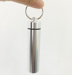 Portable Toothpicks Australia - DHL Portable Outdoor Toothpick Holder Waterproof Protable alloy metal Toothpick Case Keychain Canister Mini Camping Simple Convenient Bottle