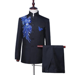 Chinese men s dress online shopping - Sticky flower blazer men Chinese tunic suit set with pants mens wedding suits stand collar singer stage clothing formal dress