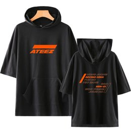 Discount hooded tee shirts women - BTS 2019 ATEEZ Hooded T-shirts Men and Women Highsreet 2019 New Stylish T-shirts Summer Short Sleeve fashion Cool Hooded