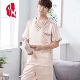 $enCountryForm.capitalKeyWord Australia - Summer Men Pyjama Set Satin Silk Men Pajama Suit Short Sleeve Solid Pajama Man Sleepwear Spring Male Nightgown XXXL Sleep