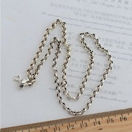 925 silver chains Australia - Hot Sale Fashion 925 Sterling Black Silver 3.5 mm Cable Chain Women Men Necklace Korean Style Jewelry