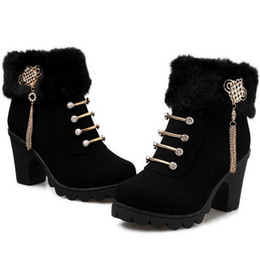 Thick heeled riveT marTin booTs online shopping - Winter Women s Snow Boots England Style Chunky Heel Fur Martin Boots Women s Thick Buckle Ankle Boots