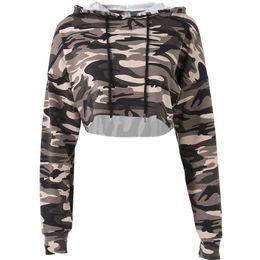 China new yoga sweatshirt Sexy Short Camo hoodies Women Sports crop top tshirt Gym jogging Camouflage Hooded Pullovers Korean clothes cheap korean yoga pants suppliers