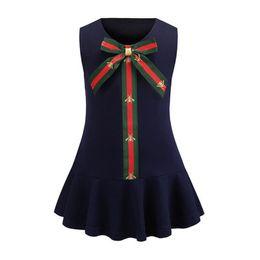 EuropEan stylE vEst online shopping - Girls Dresses Baby Fashion Bees printed stripe Bows tie vest dress kids designer clothes children round collar falbala princess dress