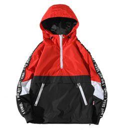 Wholesale color block coat for sale – winter High Quality Men New Hooded Jackets Patchwork Color Block Pullover Jacket Fashion Tracksuit Coat Men Hip Hop Streetwear