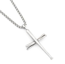 Biker cross pendant online shopping - Baseball Bat Cross Pendant Necklace Hip Hop Gold Silver Black Color Stainless Steel Cross Necklace Gym Sports Biker Jewelry Gift DHL FREE