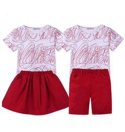 1e5a3f32c3c2 Big Sister Outfits Brother Sets Family Look family matching clothes Summer  Print T-shirt+Skirt short kids Baby family clothing