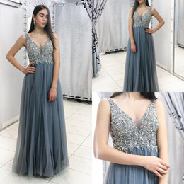 39b85f25fc dusty grey column top sequins prom dresses tank straps v neck floor length  tulle long elegant evening gown cheap Robes formelles soirée 2019
