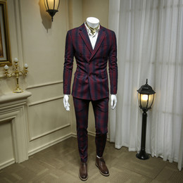 $enCountryForm.capitalKeyWord Australia - XM GEEKI Men Casual Suit Jackets Spring Blazers Slim Fit Mens Two Pieces Suits Male Wine Red Plaid double breasted Suit