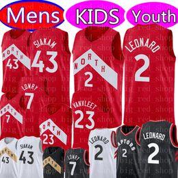 Discount kids basketball jerseys - Youth KIDS Mens Kawhi 2 Leonard Jersey Pascal 43 Siakam 23 VanVleet 7 Lowry Retro Vince 15 Carter 21 Camby Basketball Je