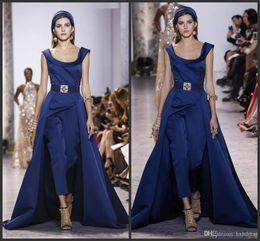 $enCountryForm.capitalKeyWord Australia - 2019 New Winter Ellie Saab Jumpsuit Evening Dresses With Detachable Skirts Satin Sweep Train Prom Dress Evening Wear Party Gown Plus Size