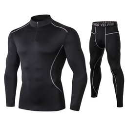 Wholesale long thermal underwear men resale online - Fanceey High Collar Winter Thermo Underwear Thermal Men Long Johns Thermal Clothing Rashgard Kit Sport Compression Underwear T200415
