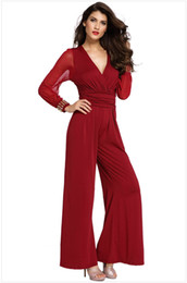 dc0da2a3f350 Women s Plus Size Elegant Chiffon Jumpsuit 2019 Office Casual Women V-Neck  Sexy See through Long Sleeve Jumpsuits Rompers One Piece