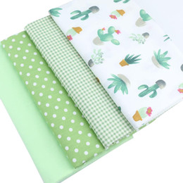 Sewing Baby Bedding Australia - Syunss Green Cactus Grid Dot Printed Cotton Fabric DIY Tissue Patchwork Telas Sewing Baby Toy Bedding Quilting Tecido The Cloth