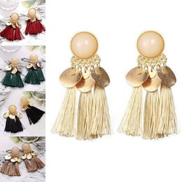 $enCountryForm.capitalKeyWord Australia - Bohemia Line Tassel Earrings Gold Coin Tassel Stud Earrings Dangle Chandelier Designer Fashion Jewelry For Women Will and Sandy 350117