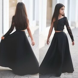 $enCountryForm.capitalKeyWord Australia - Arabic Said Mhamad Black One Shoulder Long Sleeve Kids Prom Dresses A Line Two Piece Beaded Flower Girls Dresses