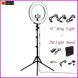 """Smartphones Cameras Australia - video led Fusitu 18"""" RL-18 Outdoor Dimmable Photo Video LED Ring Light Kit with 2M Tripod Light Stand for DSLR Camera Smartphones"""