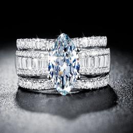 Venta al por mayor de Anillo de circón para mujer Tamaño 678 9 10 S925 Juego de tres piezas desmontables de anillo de diamante de alta calidad chapado en plata de oro de 18K de alta calidad