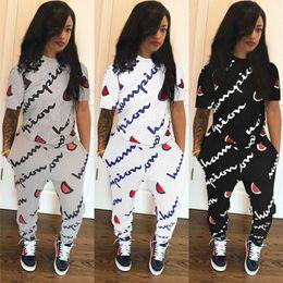 White Letter Print Leggings Australia - 2019 champions Short Sleeve Pocket Letter Print Two Piece Sets plus size women girls Tracksuit Tights Leggings trousers t shirt suits