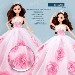 Princess 12 Figure Australia - 1psc Lexin Dodino Bobbi Especially Wedding Dress Doll Suit Will Gift Box Trailing Dress Girl Princess Childrens Toys