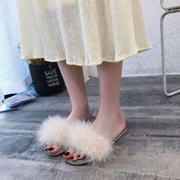 $enCountryForm.capitalKeyWord NZ - 2019 autumn and winter winter new designer fur slippers women wear wild sets of feet Roman fashion flat bottom rhinestones word high quality