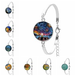 $enCountryForm.capitalKeyWord Australia - 2019 New Hot Girl Bracelet Star Night Van Gogh Sunflower Oil Painting Round Glass Convex Round DIY Glass Dome Women's Bracelet