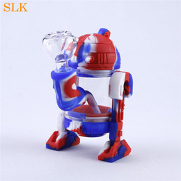 Smoking Water Bongs Pipes Australia - New Arrival silicone Water Pipe With 14mm joint glass bowl silicone Bong Retail Wholesale portable robot pot shape smoking accessory