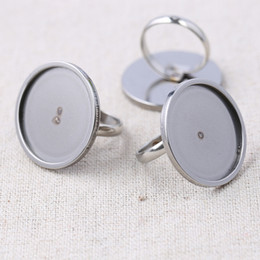 Ring Steel Diy NZ - shukaki 20pcs adjustable stainless steel ring blanks 20mm 25mm round glass cabochon base settings diy jewelry making findings
