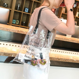 Metallic Tote Bags Wholesale Australia - Women Composite Bag Laser Sequins Shoulder Bag Jelly Transparent Beach Handle Bags Shopping Bags Large Capacity Casual Tote Girl
