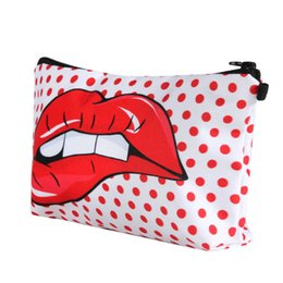 lip print bag Australia - New lip-biting 3D printing sexy fashion Cosmetic Bag Handbag ladies multi-purpose receipt bag