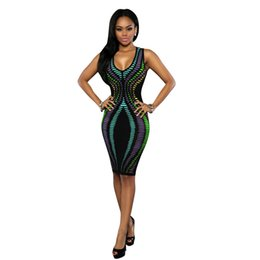 c44d1b6bbb2 Sexy Club Dress 7 Colors Sleeveless Clothing V Neck Tight Midi Bodycon  Night Sexy Club Wear Polyester Spandex Women Fancy Dresses