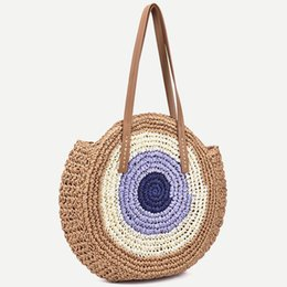 Wholesale 2019 New Color Matching Round Straw Shoulder Bag Crochet Vintage Female Summer Handbag Wild Beach Travel Vacation Leisure Bag J190702