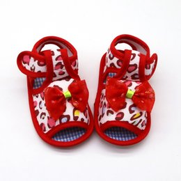 sandals for toddler girls 2019 - Bow Girl Sandals Cloth Cotton Newborn Baby Shoes Summer Breathable Soft Print Sandals For Girls Toddler Shoes cheap sand