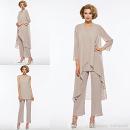 Panting Pictures Australia - Elegant Mother Of The Bride Pant Suits 3 Pieces Cheap Chiffon Beach Groom Mothers Dress Long Sleeves Straps Wedding Guest Wear Plus Size