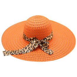 6d3ab5666e34a leopard straw hat 2019 - Summer Straw Sun Hat Wave Point Hollow Out Extra  Wide Brim